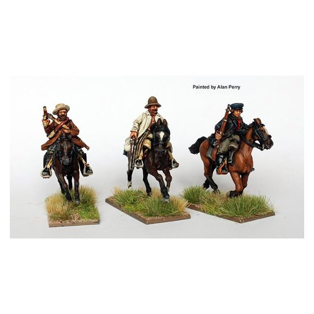 Confederate cavalry galloping with muskets and rifles in civilia