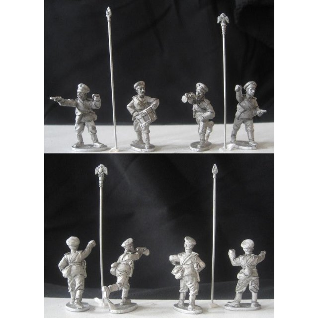 Russian standard bearers, bugler and drummer (includes two standard tops and poles)