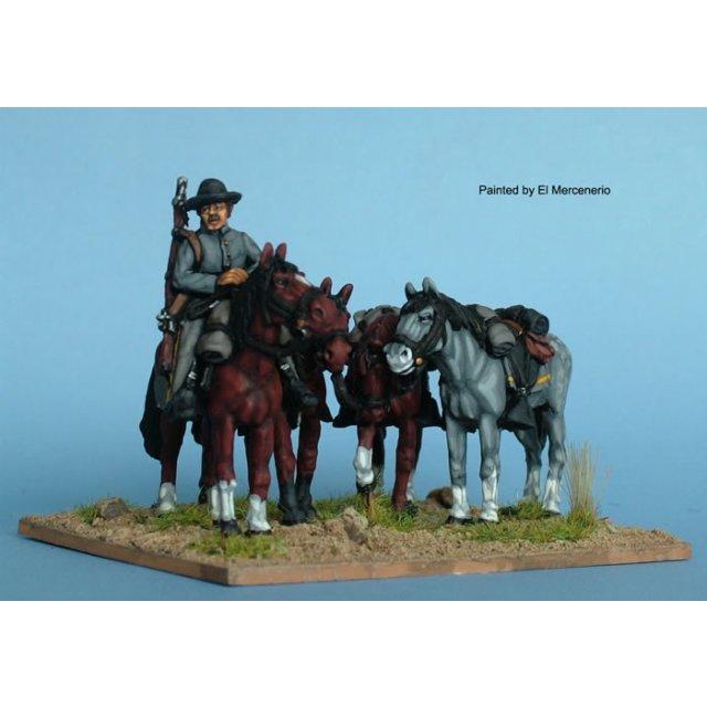 Confederate horse holder, plus 4 horses