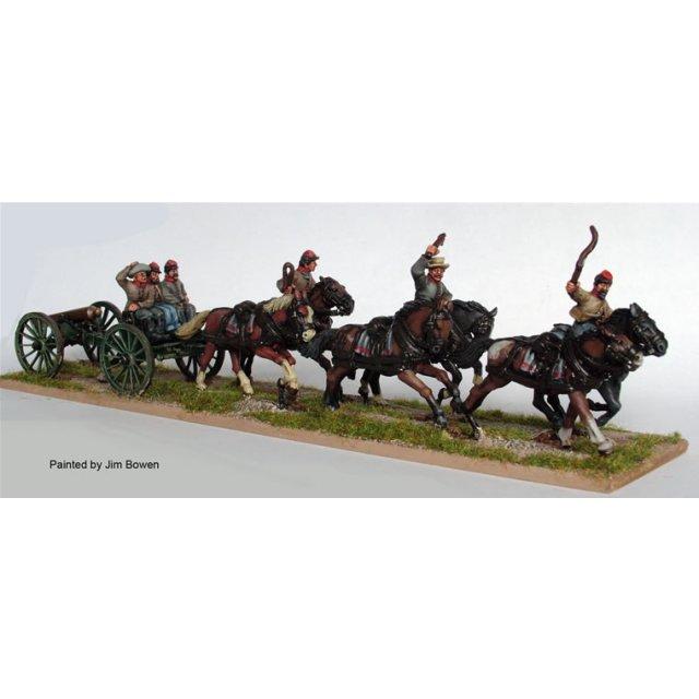 Confederate six horse limber at full gallop plus gun
