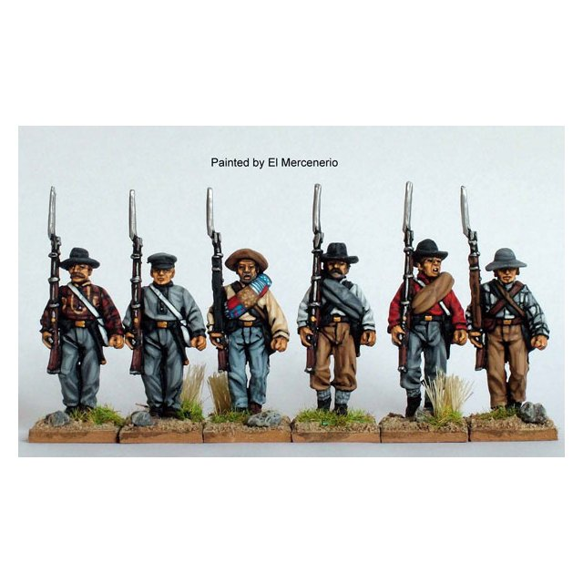 Confederate Infantry in shirts advancing, shouldered arms