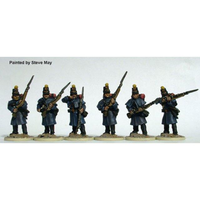 Early Federal militia firing line in shakos