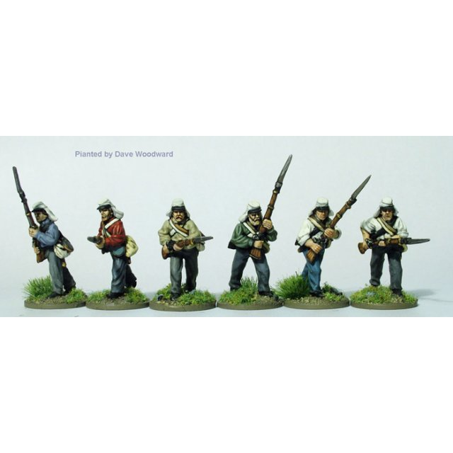 Early infantry in shirts and havelocks, advancing
