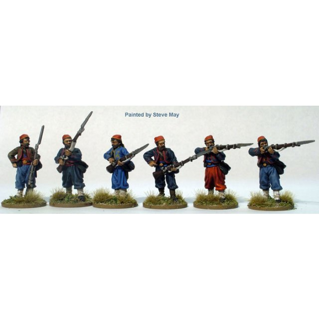 Zouave firing/skirmish line, fezzes and chasseur trousers