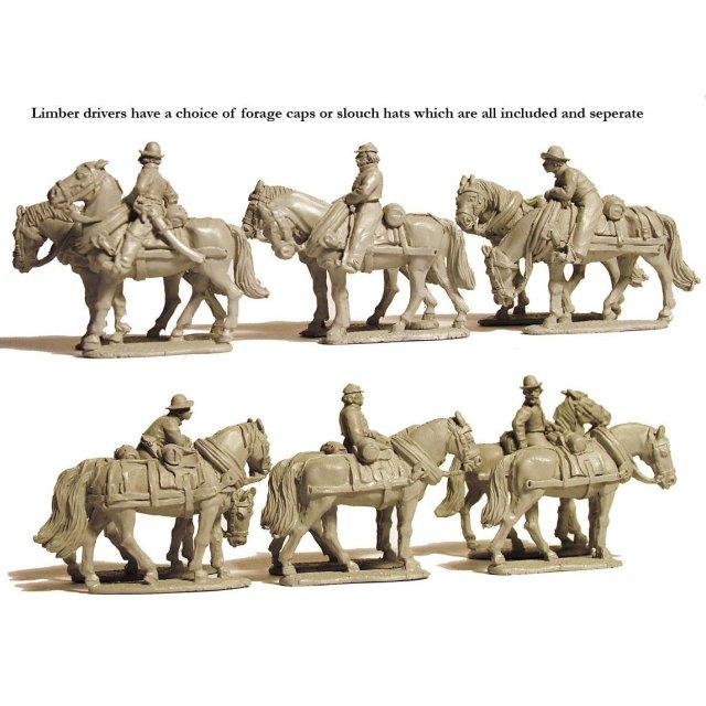 Limber horse teams standing