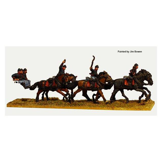 Union six horse limber team galloping