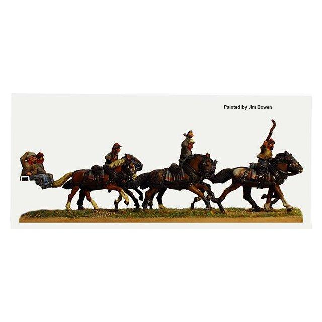 Confederate six horse limber team galloping