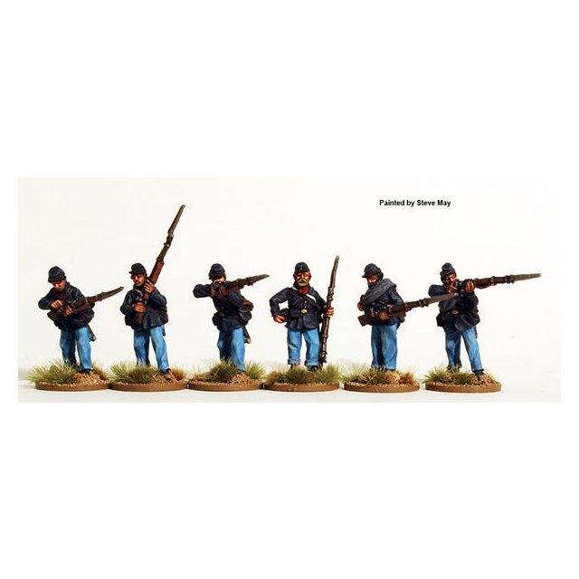 Union Infantry firing line, sack coats