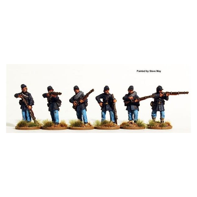 Union Infantry firing line, frock coats