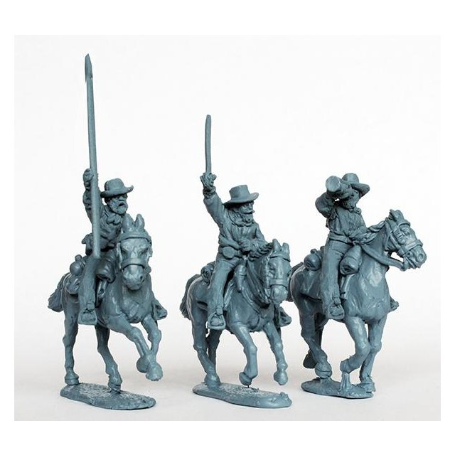 Confederate cavalry command in shirts galloping