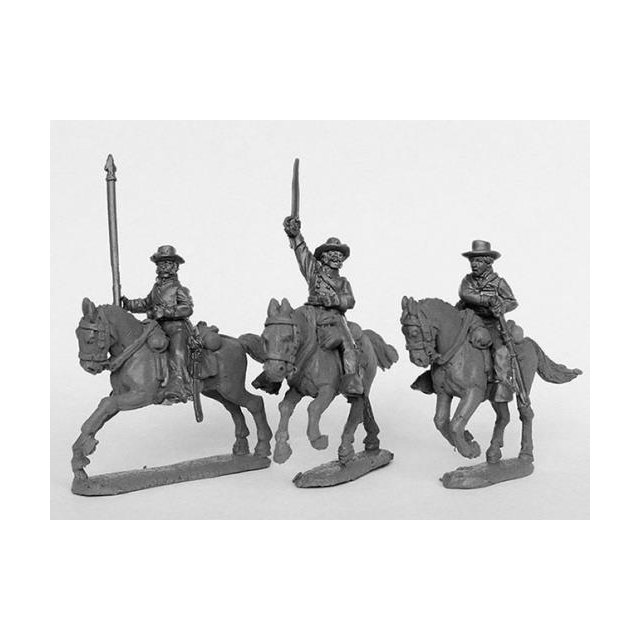 Union cavalry command in slouch hats, galloping