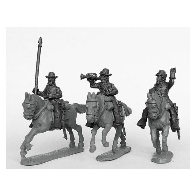 Union cavalry command in Whipple cap-hats, galloping