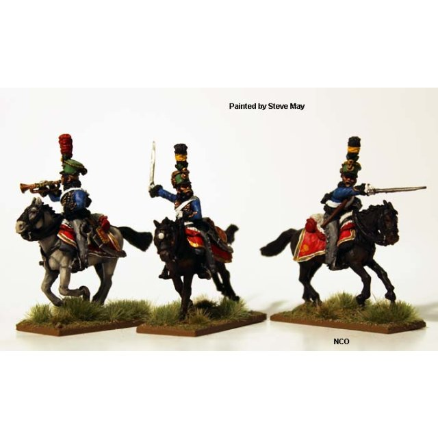 Hussar command wearing pelisses (campaign dress) galloping