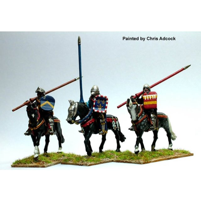 Mounted men-at-arms,lance upright and shouldered,shield,horses w