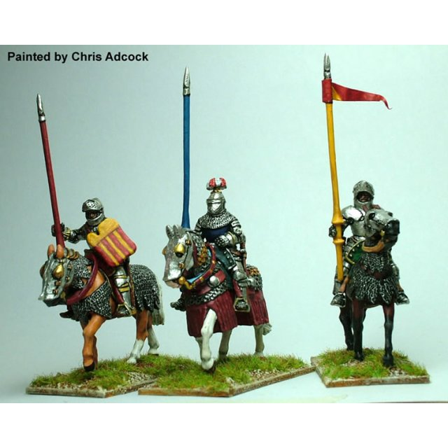 Mounted Men- at-arms,&#39white armour&#39,lance upright,armoured