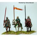Mounted Men-at-arms lance upright,horses walking