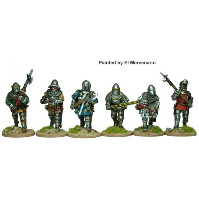 Dismounted Men at Arms advancing with polearms