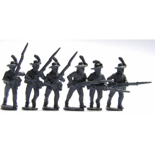 British Infantry in slouch hats and ?roundabouts? charging