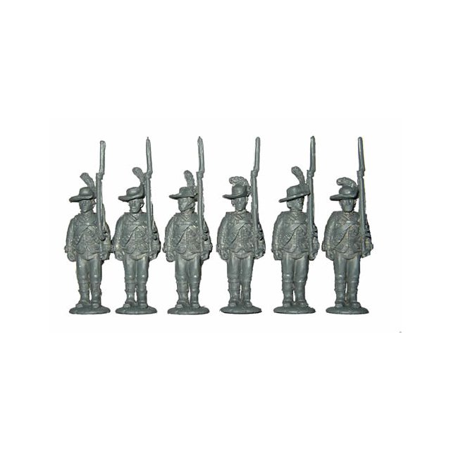 British Infantry standing,shouldered arms