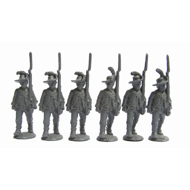 British Infantrymen, slouch hats and cut-down coats, advancing,