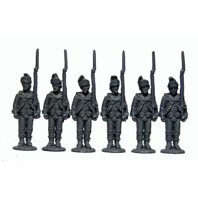 British Infantry standing,shouldered arms,?Saratoga uniforms?