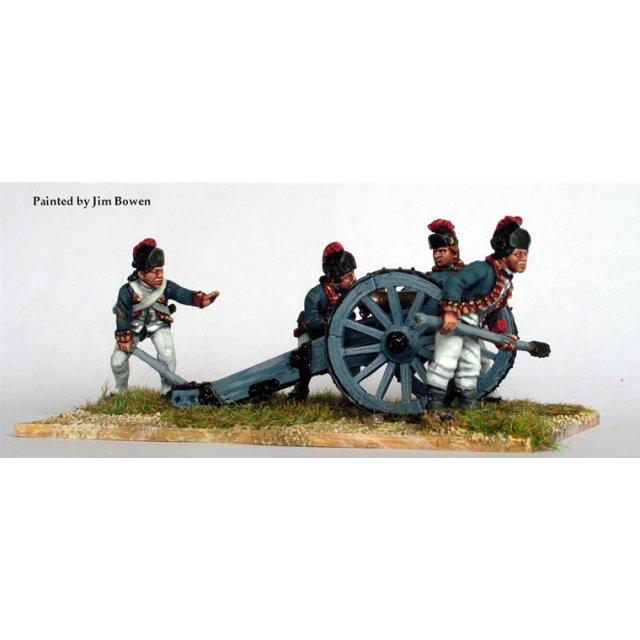 British Royal Artillery aiming 6 pounder, Saratoga dress