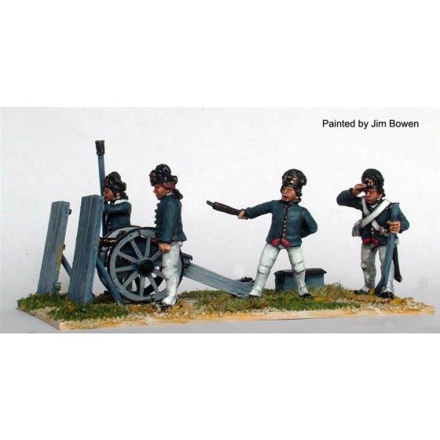 British Royal Artillery in cap hats firing 3 pdr 'Butterfly' (c