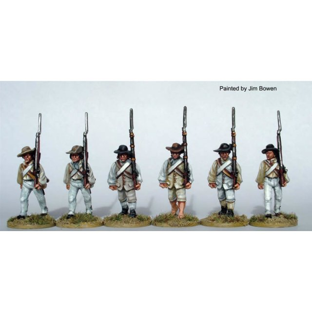 Southern Militia/Continentals advancing , shouldered arms, in sh