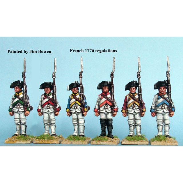 French Fusiliers standing, shouldered arms, 1776 coats