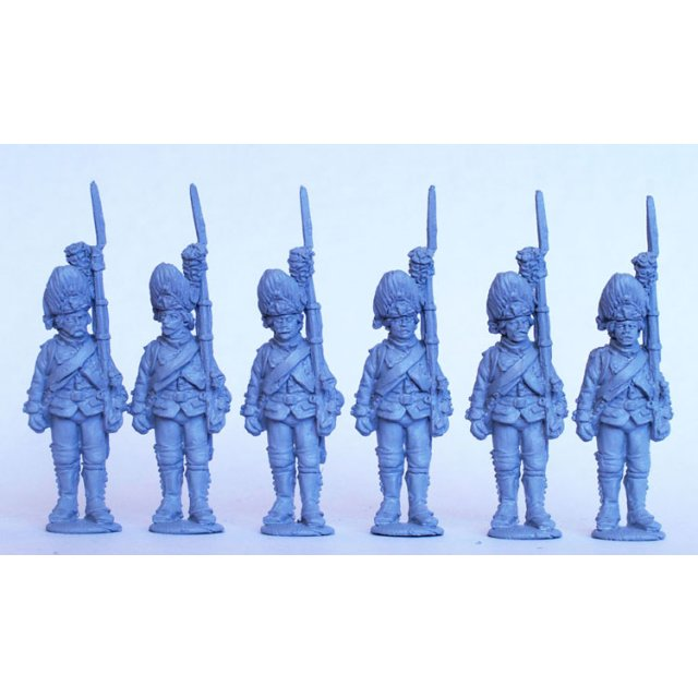 French Grenadiers standing, shouldered arms, 1776 coats