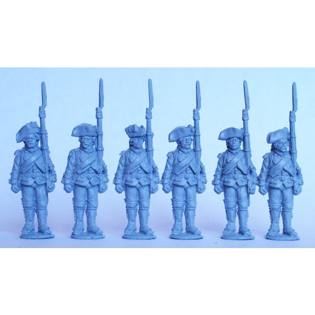 French Chasseurs standing, shouldered arms, 1776 coats