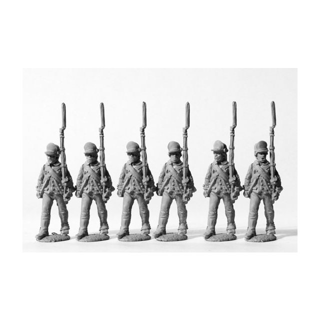 American infantry in peaked caps, advancing, shouldered arms