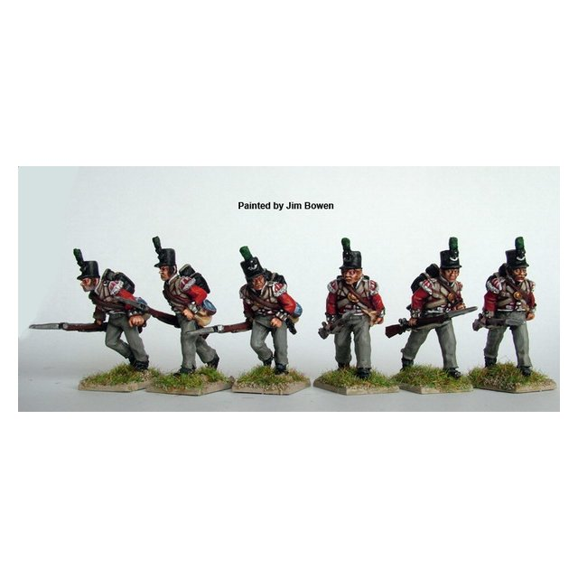 British Light Infantry advancing, muskets at trail