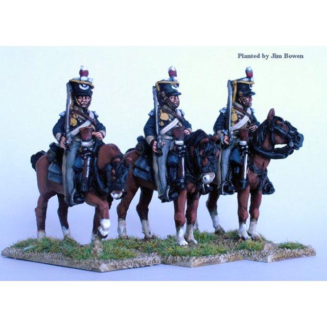British Light Dragoons on standing horses, swords shouldered