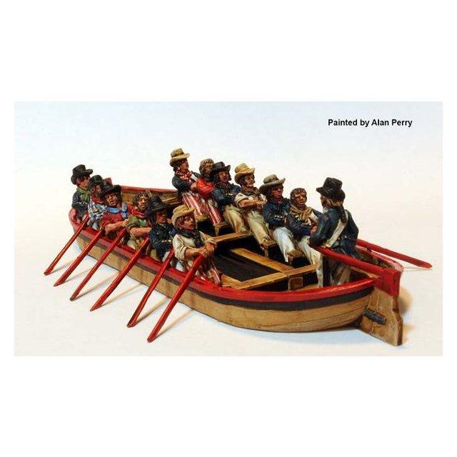 Flat boat (resin) plus Sailors rowing and Midshipman