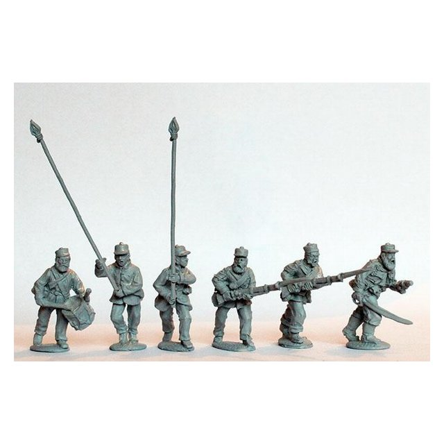 Line Infantry command charging, campaign dress, Kilmarnocks and