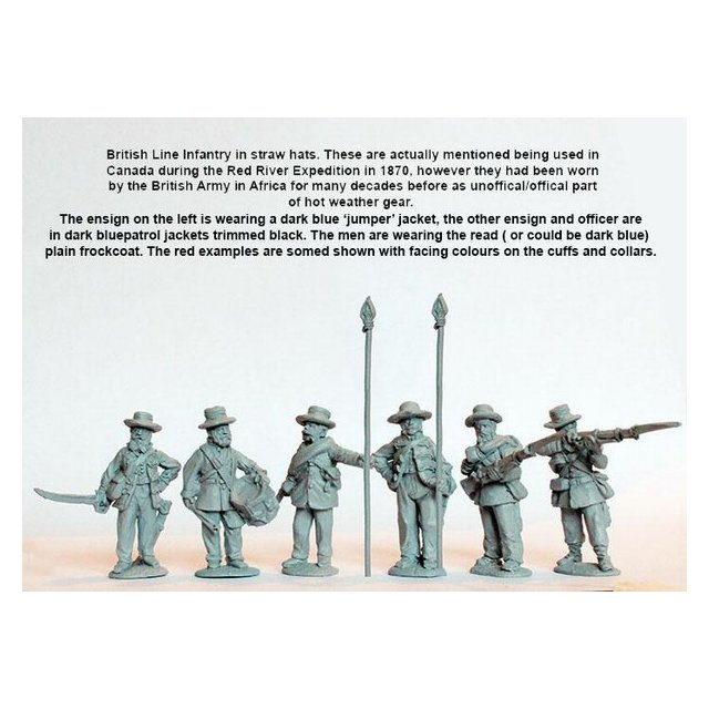 Line Infantry command standing, campaign dress, straw hats and p