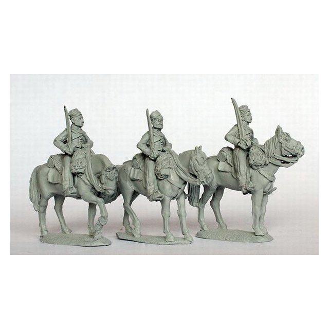 Canadian Volunteer Cavalry, standing, shouldered swords, stable
