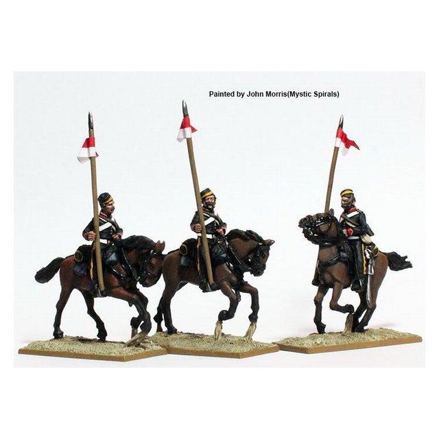 British Lancers galloping, stable jackets, lance upright
