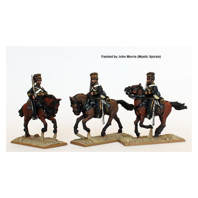 British Hussars, galloping, in 1855 pattern tunic and pre-Crimea