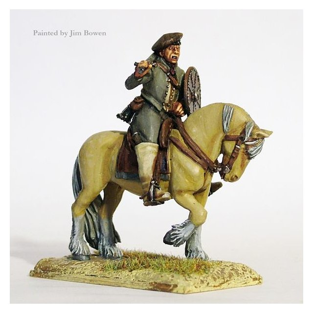 Willie Maxwell, mounted, sword and targe, bonnet over metal skul
