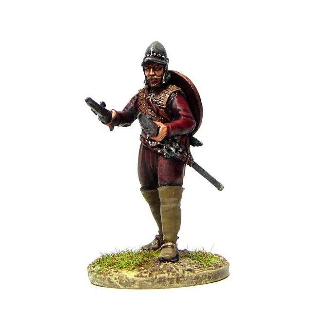 Davy Maxwell, on foot standing, two pistols, slung targe, burgon