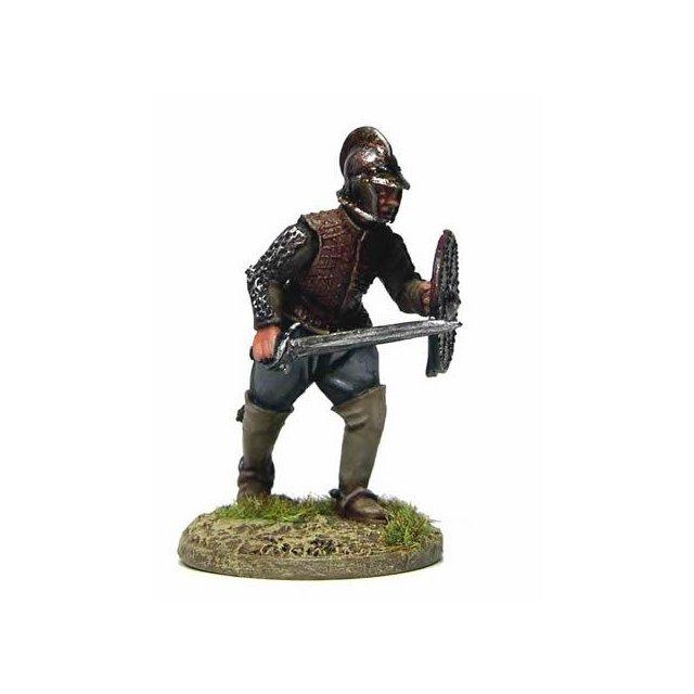 Archie Johnstone, on foot running, sword and targe/dagger, burgo