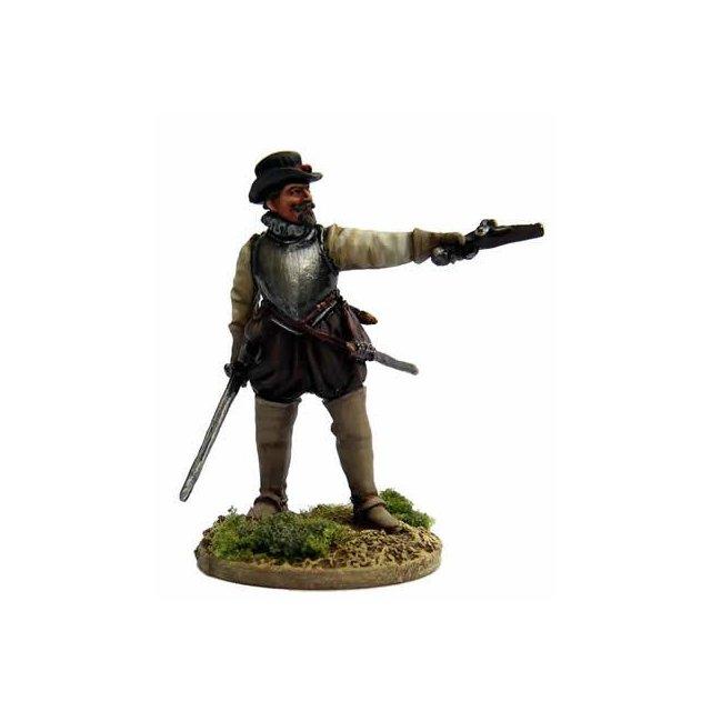 James Johnstone, on foot standing aiming pistol, sword, breastpl