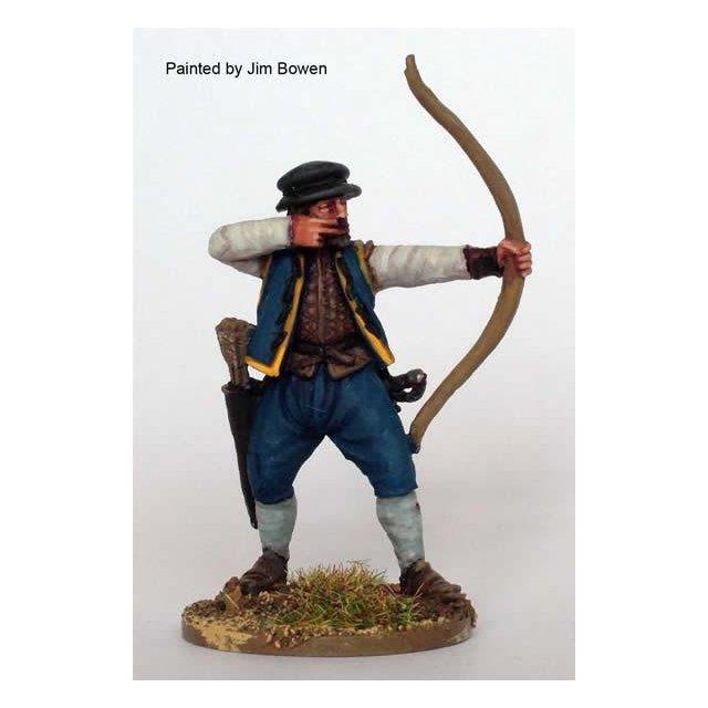 Archer shooting, livery coat over jack, cap.