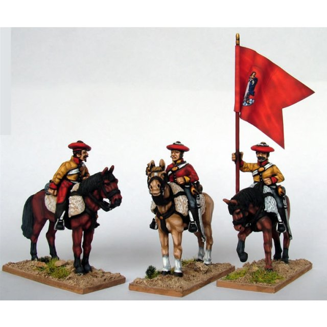 Cavalry Command in tailed coatees,mounted on standing horses