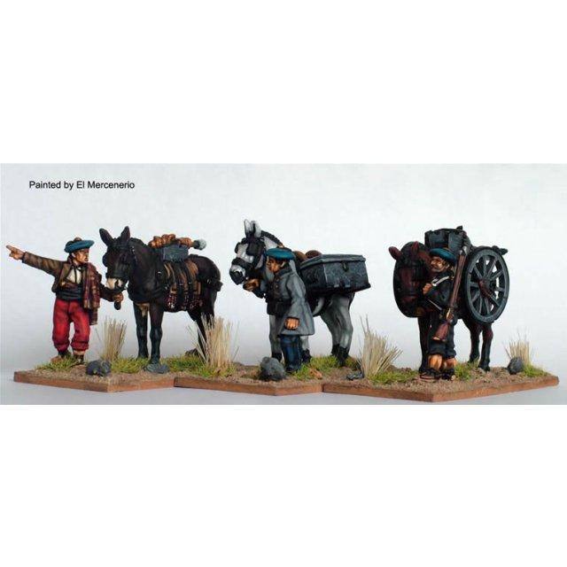 Mountain gun loaded on mules (3 mules, 3 handlers + gun)