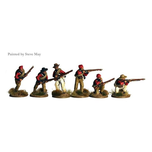 Infantry wearing shell jackets and blanket rolls skirmishing