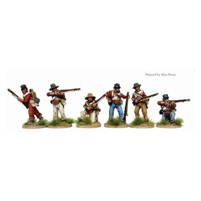 Infantry in coatees and various headgear skirmishing
