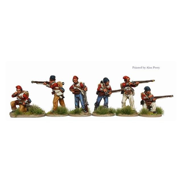Infantry in coatees and stocking-caps skirmishing